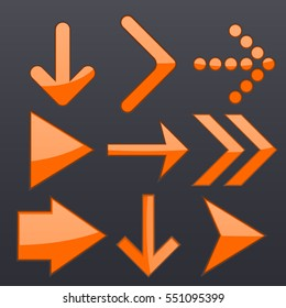 Orange arrows collection. Shiny 3d icons on dark background. Vector illustration.
