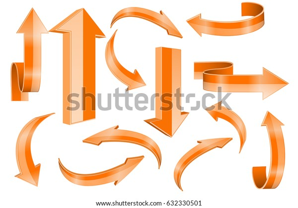 Orange arrows. Collection of web icons. Vector 3d illustration isolated on white background