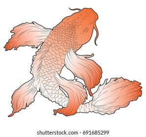 Orange Art Nouveau Koi Fish