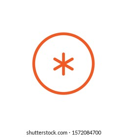 orange asterisk footnote in circle icon. Flat icon of asterisk isolated on white background. Vector illustration. Star note symbol for more information