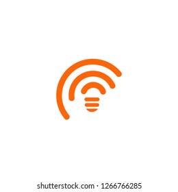 Orange atc lines, Abstract whireless icon. Unusual WiFi symbol. Mobile signal sign. Lightbulb illustration on white background.