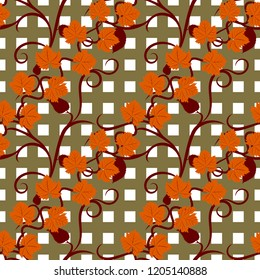 Orange autumn grape leaves seamless pattern with tracery on squared background