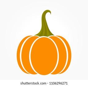 Orange autumn pumpkin icon on white background. Vector illustration