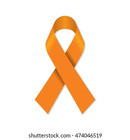 Orange awareness ribbon for animal abuse, leukemia awareness, kidney cancer association, multiple sclerosis symbol.
