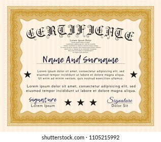Orange Awesome Certificate template. Easy to print. Retro design. Detailed.