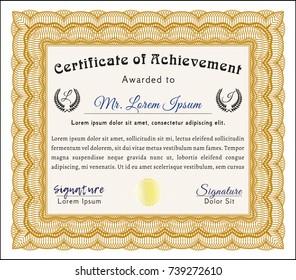 Orange Awesome Certificate template. Printer friendly. Detailed. Retro design.