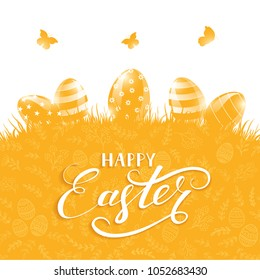 Orange background with Easter eggs in a grass and floral pattern. Holiday lettering Happy Easter, illustration.