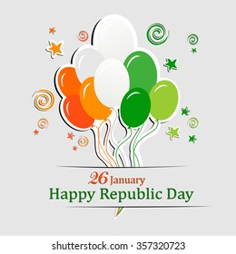 Orange background for Indian Republic Day with text  26 January, balloon and place for your text. vector illustration
