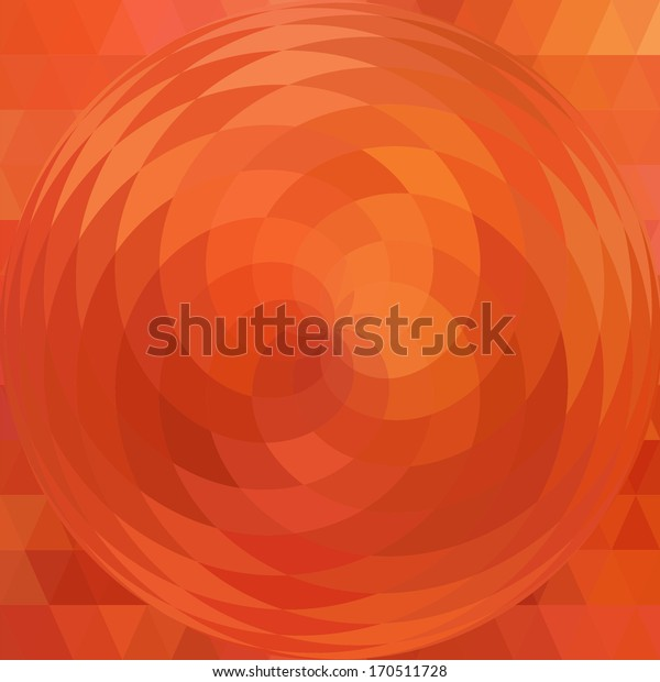 Orange background, magnifier effect, vector, triangle