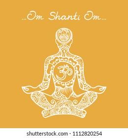 Orange background with meditator. Illustration in Linear Engraving Style. A man of meditation with symbol Om. Symbol of Buddhism. Mehndi pattern with meditator. Om Shanti Om