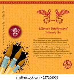 orange background with oriental calligraphy pattern brush red seal with bull and swan with rose