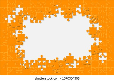 Orange Background Puzzle. Jigsaw Puzzle Banner. Vector Illustration Template Shape. Abstract Background. Puzzle Game, Mosaic, Spread Out Mosaic Puzzle Tiles Background. Puzzles Pieces. Frame.