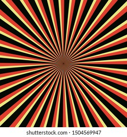 orange Background with retro rays. Color abstract ray star burst background pattern design . Vector illustration
