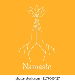 Orange background with symbol Namaste. Hand drawn Vector. Sketch Style. Symbol of Buddhism. Namaste hands with lotus flower. Line art. Illustration in Linear Engraving Style