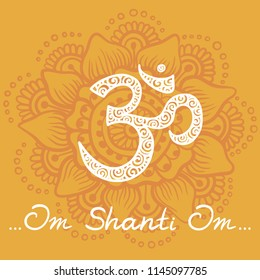Orange background with symbol Om. Illustration in Linear Engraving Style. Meditation with symbol Om. Symbol of Buddhism. Mehndi pattern with Mantra. Om Shanti Om