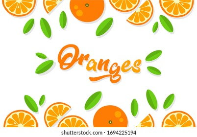 Orange background. Orange tangerine grapefruit lemon lime on a white background. Vector illustration of summer fruits and citrus. Citrus icons and silhouettes. Cute painted oranges. Tropical fruits