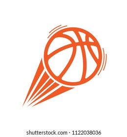 Orange basketball silhouette with moving shape