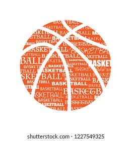 Orange basketball symbol with text isolated on white background