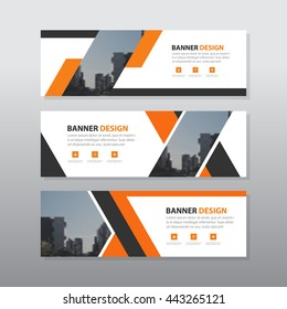 Orange black abstract corporate business banner template, horizontal advertising business banner layout template flat design set , abstract cover header background template for website design,