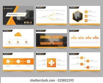 Orange black Abstract presentation templates, Infographic elements flat design set for annual report brochure flyer leaflet marketing advertising banner template