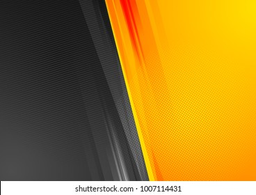 Orange and black abstract tech grunge background. Vector design