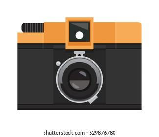 Orange and Black Analog Film Camera