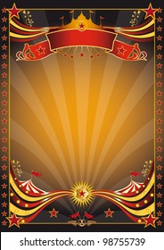 Orange and black circus poster. An orange and black poster for you.