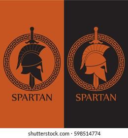 orange black color spartan theme logo