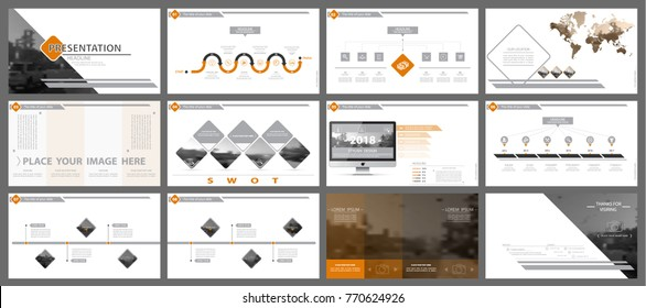 Orange, black, elements of presentation templates, white background. Slide set. Region infographic. Business presentations, corporate reporting,marketing, advertising, annual report,leaflets,banners
