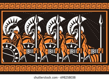 orange and black figure art spartans army