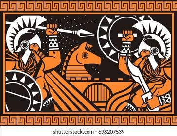 orange and black figures ceramic painting trojan war