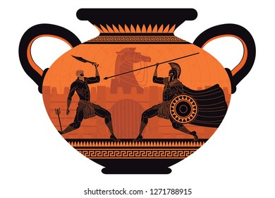 orange and black figures pottery amphora painting of troy war with achilles fighting