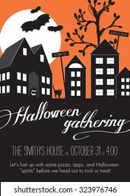 Orange and Black Halloween Neighborhood Block Party Invitation Template - Vector
