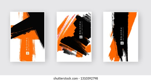 Orange black ink brush stroke on white background. Japanese style. Vector illustration of grunge abstract stains