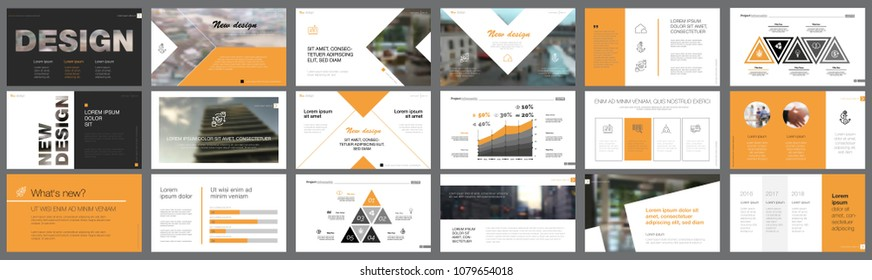 Orange and black logistics or management concept infographic set. Business design elements for presentation slide templates. Can be used for annual report, advertising, flyer layout and banner design.