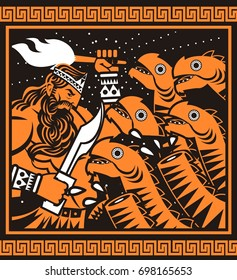 orange and black painting of greek mythology hercules cutting hydra heads