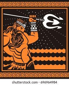 orange and black painting of poseidon neptune god of the sea
