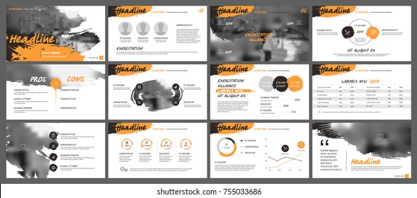 Orange and black presentation templates elements on a white background. Vector infographics. Use in Presentation, flyer and leaflet, corporate report, marketing, advertising, annual report, banner.