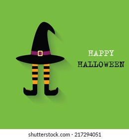 Orange and black striped legs and a witch hat. Vector Design for Happy Halloween