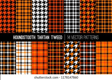Orange, Black and White Houndstooth Tartan Tweed Vector Patterns. Halloween Backgrounds. High Fashion Textile Prints. Set of Dogs-tooth Check Fabric Textures. Pattern Tile Swatches Included