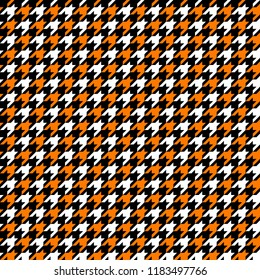 Orange, Black and White Houndstooth Tartan Seamless Vector Pattern Tile. Halloween Background. High Fashion Textile Print. Dog tooth Check Fabric Texture. Pattern Tile Swatch Included.