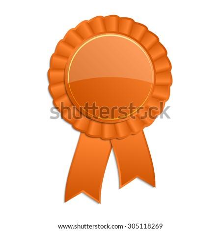 orange blank award rosette ribbon stock vector royalty free