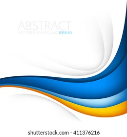 Orange and blue curve wave line background on white space for text and message modern artwork design