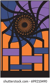 An  orange and blue geometric vector poster  with  swirls. 11x17 aspect  ratio with plenty of room for text. Perfect for your events, concerts,  shows, or occasions.