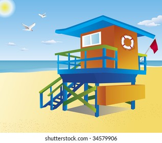 Orange and blue lifeguard tower on a sandy beach. Hot summer sun shines over a deep blue ocean and a bright yellow sand. Two seagulls are flying above.