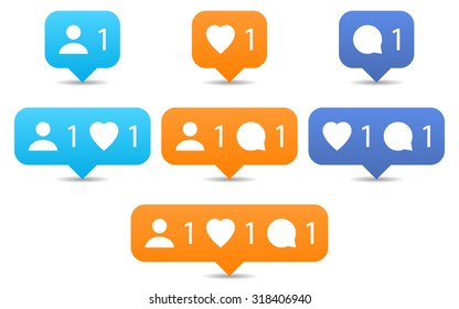Orange and blue notification tooltip with heart, user, speech bubble, counter, shadow on white background. Like, follow, comment icons in flat style. Set 02. Vector illustration design element 8 eps