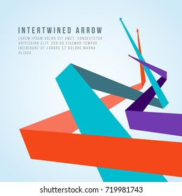 Orange blue and purple intertwined arrow abstract vector design