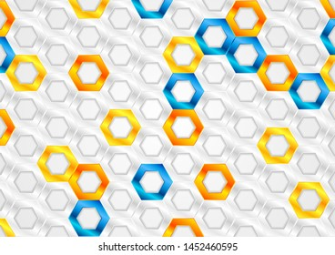 Orange, blue and silver grey glossy hexagons tech abstract vector design. Futuristic geometry background