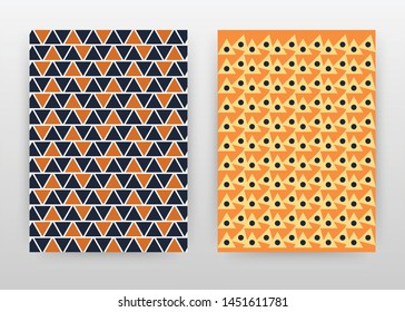 orange blue triangle seamless texture design for annual report, brochure, flyer, poster. Orange traingle background vector illustration for leaflet, poster. Business abstract A4 brochure template.