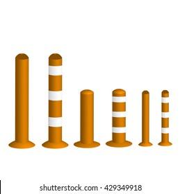 Orange Bollards, Traffic pole for safety. 3d, vector illustration.